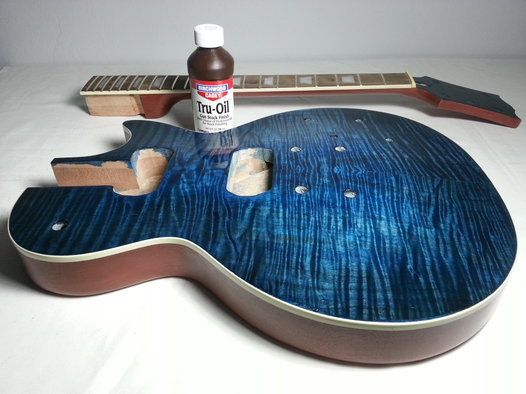 diy les paul guitar kit part 3 applying tru oil finish. Black Bedroom Furniture Sets. Home Design Ideas
